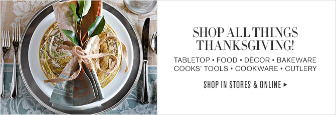 SHOP ALL THINGS - THANKSGIVING! TABLETOP - FOOD - DECOR - BAKEWARE - COOKS' TOOLS - COOKWARE - CUTLERY - SHOP IN STORES & ONLINE