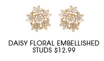 DAISY FLORAL EMBELLISHED STUDS
