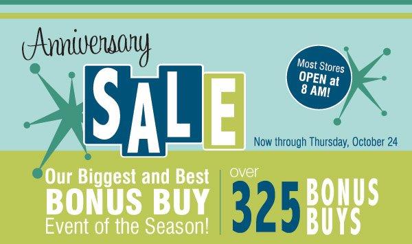 Our biggest BONUS BUY event of the season! Now through Thursday, October 24