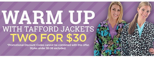 Warm Up Scrub Jackets Two for $30 - Shop Now