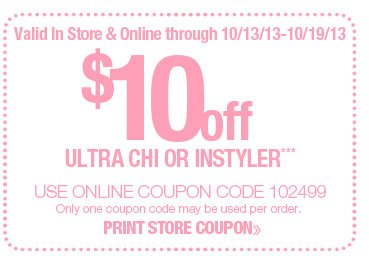 $10 off Chi Flat Iron or Dryer or Instyler Rotating Iron