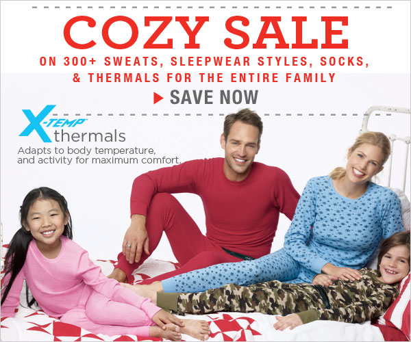 Cozy Sale: All  X-Temp thermals, socks, loungewear & more