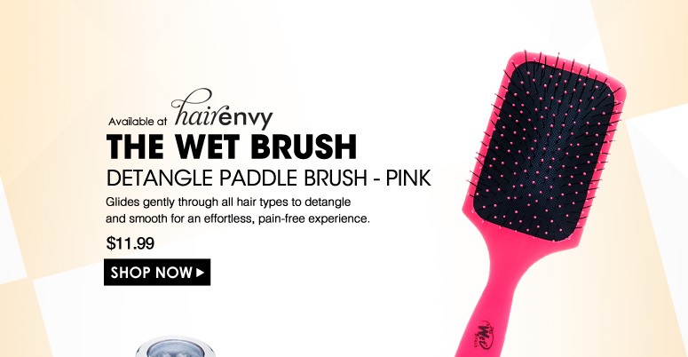 Available at HE The Wet Brush Detangle Paddle Brush - Pink Glides gently through all hair types to detangle and smooth for an effortless, pain-free experience.  $11.99 Shop Now>>