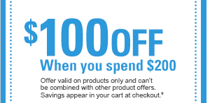$100 OFF When you spend $200 Offer valid on products only and can't be combined with other product offers. Savings appear in your cart at checkout.*