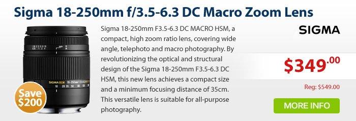 Adorama - Sigma 18-250mm f/3.5-6.3 DC Macro OS (Optical Stabilizer) HSM Zoom Lens