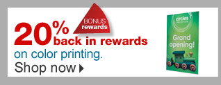 Bonus  rewards. 20% back in rewards on color printing. Shop now.