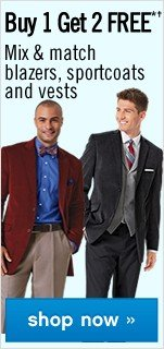 Buy 1 Get 2 FREE Mix and match Blazers, Sportcoats and Vests. Shop now.