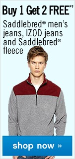 Buy 1 Get 2 FREE Men's Saddlebred jeans, Izod jeans and Saddlebred fleece. Shop now.