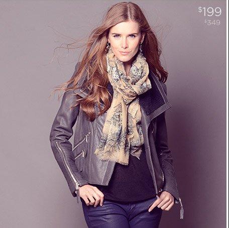 BCBGeneration Genuine Leather Zip Jacket $199