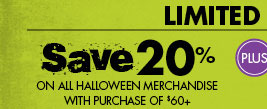Save 20% on all halloween merchandise with purchase of $60+