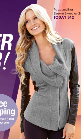 SHOP Faux Leather Sleeve Sweater SALE