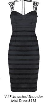 V I P Jewelled Shoulder Midi Dress
