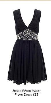 Embellished Waist Prom Dress
