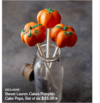 EXCLUSIVE - Sweet Lauren Cakes Pumpkin - Cake Pops, Set of six $35.00