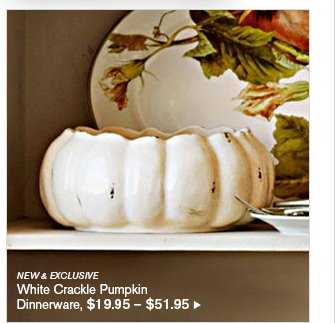 NEW & EXCLUSIVE - White Crackle Pumpkin Dinnerware, $19.95 - $51.95