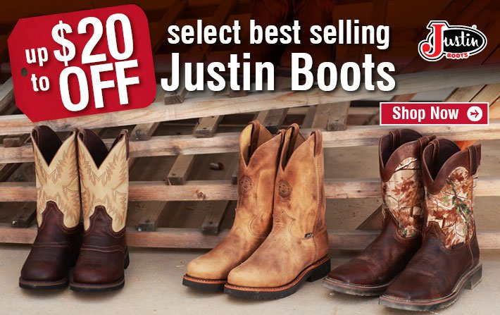 Up To $20 Off Select Best Selling Justin Boots