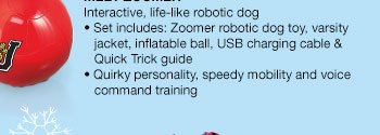MEET ZOOMER: Interactive, life-like robotic dog. Set includes: Zoomer robotic dog toy, varsity jacket, inflatable ball, USB charging cable & Quick Trick guide. Quirky personality, speedy mobility and voice command training