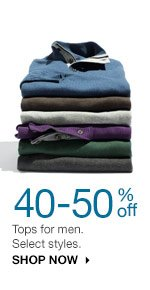 40-50% off Tops for men. Select styles. SHOP NOW