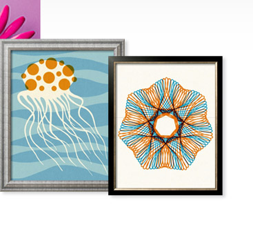 ORANGE AND BLUE LINE DESIGN and JELLYFISH ON BLUE BACKGROUND By: Pop Ink - CSA Images