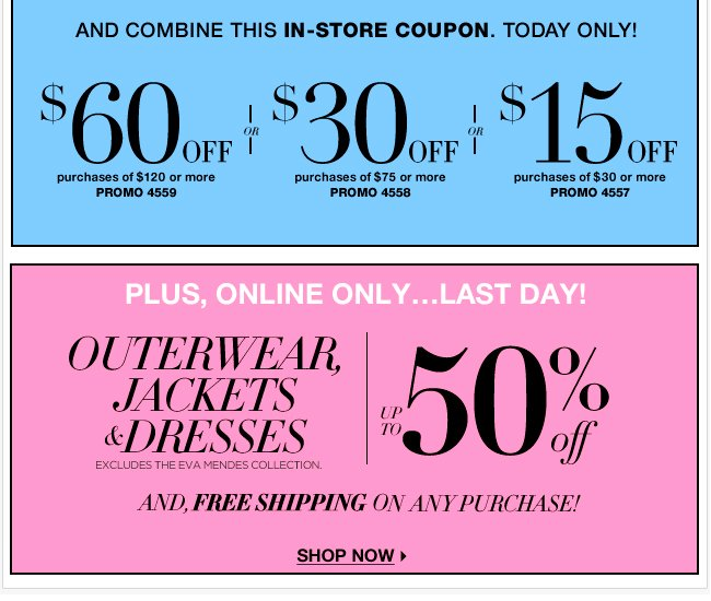 Save $60 in stores or FREE Shipping Online!