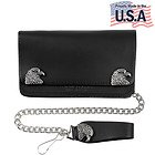 Mens Bi-fold American Bald Eagle Biker Top Grain Leather Wallet