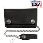 Mens Bi-fold American Buffalo Coin Biker Top Grain Leather Wallet
