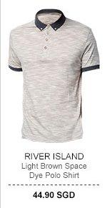 River Island Light Brown Polo Tee