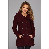 Jessica Simpson Double-Breasted Wool Coat w/ Hardware