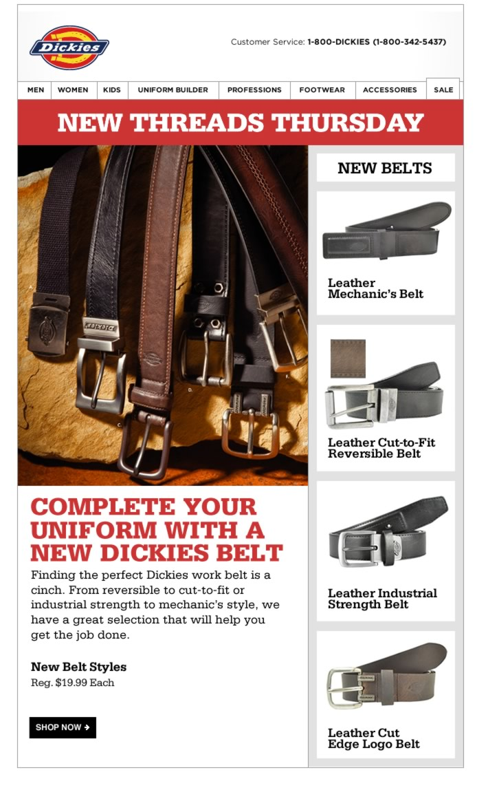Finding the perfect Dickies work belt is a cinch. From reversible to cut-to-fit or   industrial strength to mechanic's style, we have a great selection that will help you get the job done.