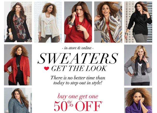 Sweaters BOGO 50% Off*!