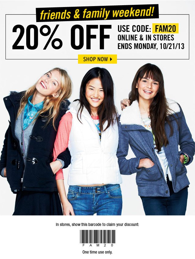 20% OFF Online & In Stores Ends 10/21