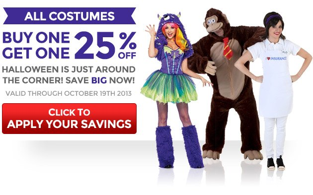 All Costumes: Buy One, Get One 25% Off
