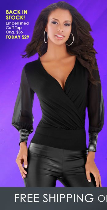 Back in Stock! Embellished Cuff Top ON SALE!