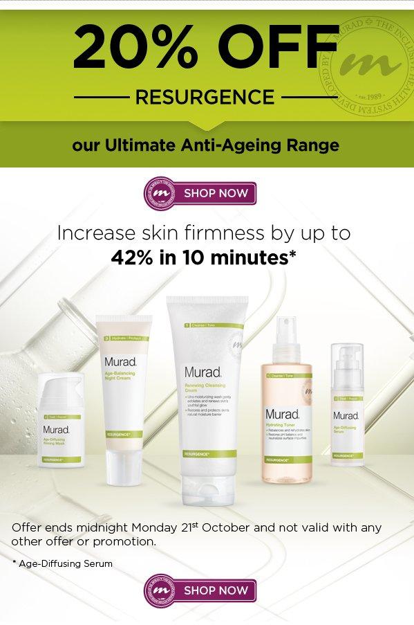 20% off Resurgence - Murad's Ultimate Anti-Ageing Range!