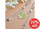 Set of 2: Clover Heart Mobile Strap