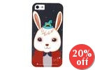 Wooden Horse Rabbit Print iPhone 5 Case + Earphone Plugs + Protective Film