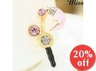 Rhinestone Moon Earphone Plug