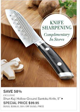 """SAVE 58% - EXCLUSIVE - Shun Kaji Hollow-Ground Santoku Knife, 5"""" - SPECIAL PRICE $99.95 (SUGG. $288.00, 58% OFF SUGG. PRICE)"""