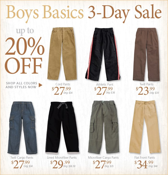 Save up to 20% on Boys Pants