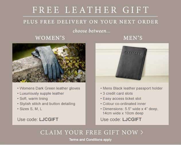Free leather gift plus free delivery on your next order. Claim your free gift now. Terms and conditions apply