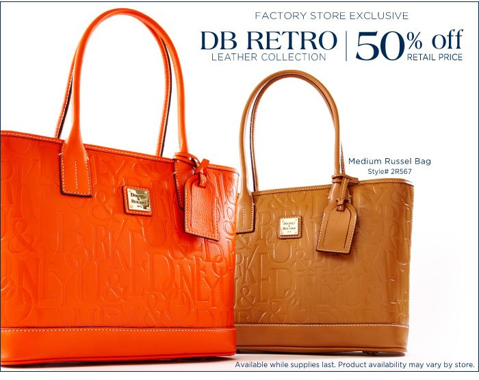 Factory Store Exclusive: DB Retro Leather 50% off retail price. Medium Russel Bag - style# 2R567. Available while supplies last. Product availability may vary by store.