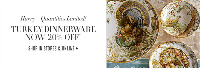 Hurry - Quantities Limited! TURKEY DINNERWARE NOW 20% OFF* -- SHOP IN STORES & ONLINE