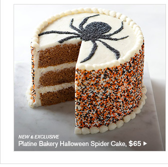 NEW & EXCLUSIVE - Platine Bakery Halloween Spider Cake, $65