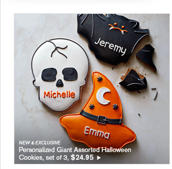 NEW & EXCLUSIVE - Personalized Giant Assorted Halloween Cookies, set of 3, $24.95