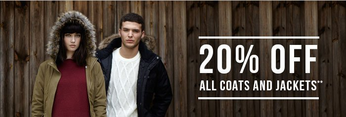 20% Off all coats and jackets