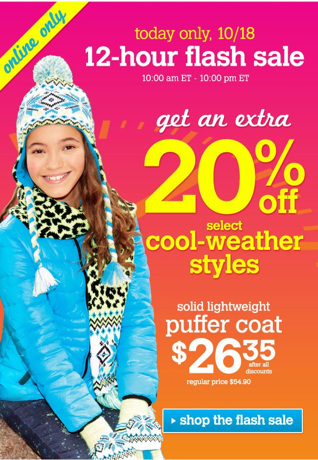 Extra 20% off select cool-weather styles