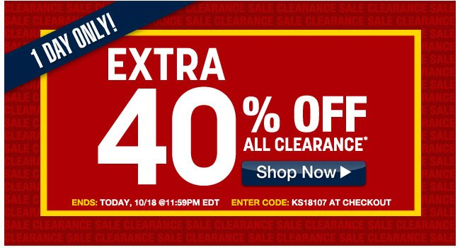 1 day only - extra 40 percent off all clearance - ends: today 10/18 at 11:59pm EDT - enter code: KS18107 at checkout - click the link below