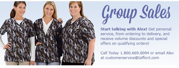 Group Sales - Call 1.800.669.0094 or email Alex at customerservice@tafford.com