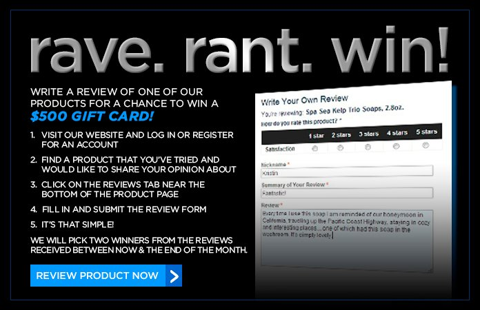 Review a product for your chance to win a $500 gift card!