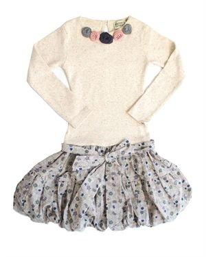 Sophie Catalou Flower Print Bubble Hem 100% Cotton Dress